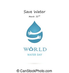 Water drop with human hand vector logo design template.World...