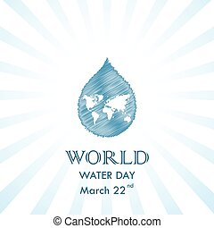 Scribble Water drop with world icon vector logo design template.World Water Day idea campaign for greeting card and poster.