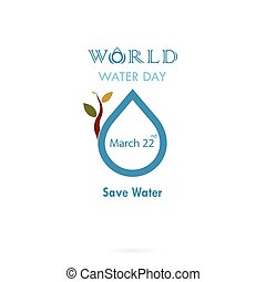 Water drop with small tree icon vector logo design...