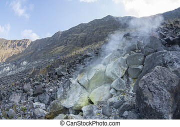 Hot fumarole in active volcano - Hot sulfuric gases escape...