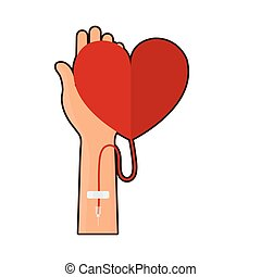 blood donation hand with red heart