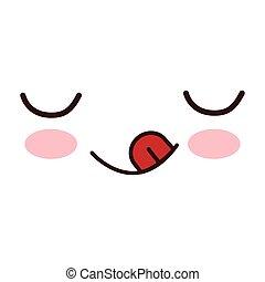kawaii winking tongue expression icon vector illustration...