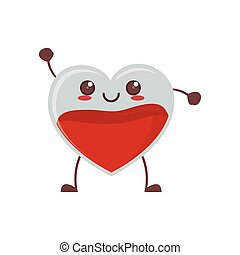 kawaii heart blood crystal vector illustration eps 10