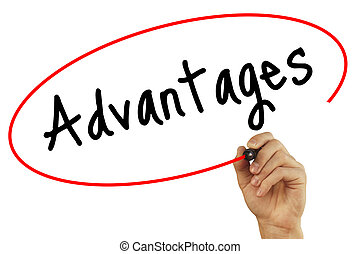 Man Hand writing Advantages with black marker on visual screen. Isolated on background. Business, technology, internet concept. Stock Photo