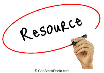 Man Hand writing Resource with black marker on visual...