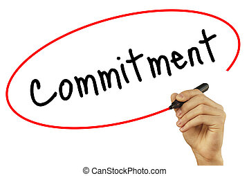 Man Hand writing Commitment with black marker on visual...