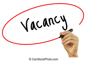 Man Hand writing Vacancy with black marker on visual screen. Isolated on background. Business, technology, internet concept. Stock Photo