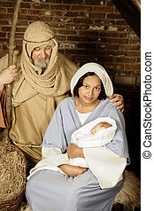 Nativity family - Live Christmas nativity scene reenacted in...
