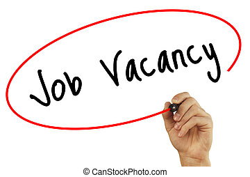 Man Hand writing Job Vacancy with black marker on visual screen. Isolated on background. Business, technology, internet concept. Stock Photo