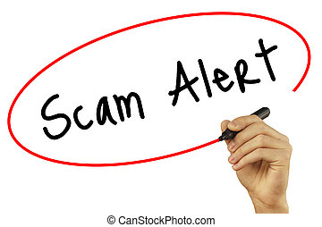 Man Hand writing Scam Alert with black marker on visual...