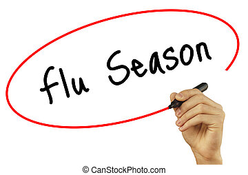 Man Hand writing Flu Season with black marker on visual screen. Isolated on background. Business, technology, internet concept. Stock Photo
