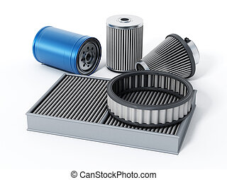 Car spare oil and air filters. 3D illustration