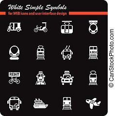 public transport icon set - public transport white simple...