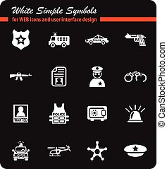 police icon set - police white simple symbols for web icons...