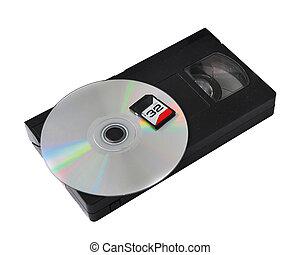 the development of technology: vhs cassette cd sd.