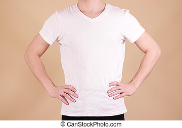 White t shirt on a young man template. Hands on waist.