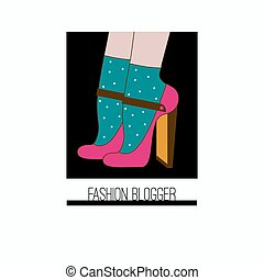 Icon fashion blogger. High heeled shoes and socks. Vector...