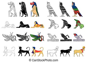 Various creatures of the ancient Egypt isolated on white...
