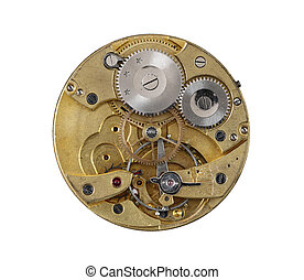 Dismantled clockwork mechanism