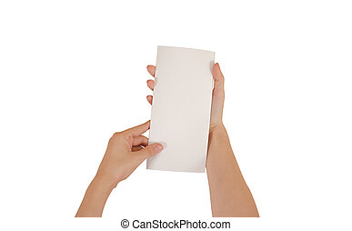 Hands holding blank white brochure booklet in the hand....