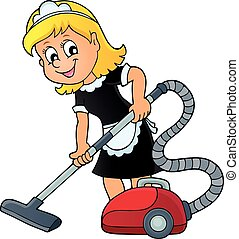Cleaning lady theme image 1 - eps10 vector illustration.