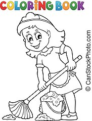 Coloring book cleaning illustration.