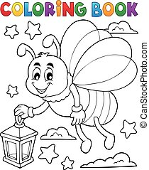 Coloring book firefly with lantern - eps10 vector...