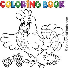 Coloring book happy hen - eps10 vector illustration.