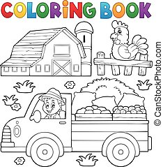 Coloring book with farm truck - eps10 vector illustration.