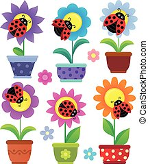 Flowerpots with flowers and ladybugs - eps10 vector...