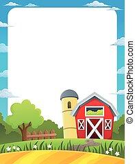 Frame with farmland illustration.