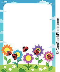 Frame with flowers and ladybugs 2