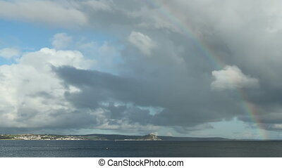 Rainbow timelapse above Mount\'s bay