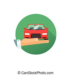 Rent a car vector logo idea, flat style hand giving new automobile, concept of auto care service