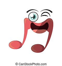 cartoon music note symbol wink