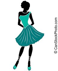Attractive girl in turquoise dress - Abstract attractive...