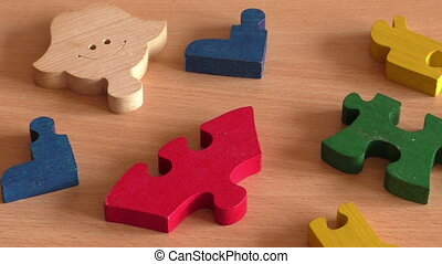 Colorful wooden puzzle for kid