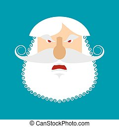 Old man angry Emoji. senior with gray beard face Aggressive emotion isolated