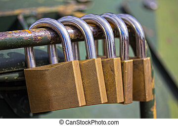 Security Locks - Photograph of several security locks found...