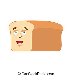 Bread happy Emoji. piece of bread laughs emotion isolated