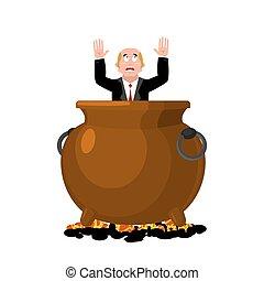 Businessman in infernal cauldron. sinner in frying pan. boss...