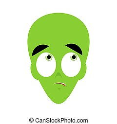 UFO Surprised Emoji. Green alien face astonished emotion....