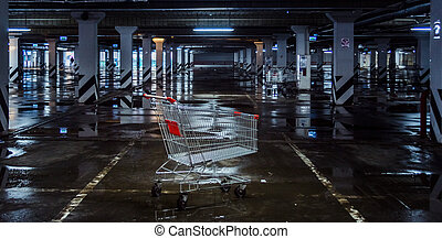 Trolley for products, in the parking lot, indoor