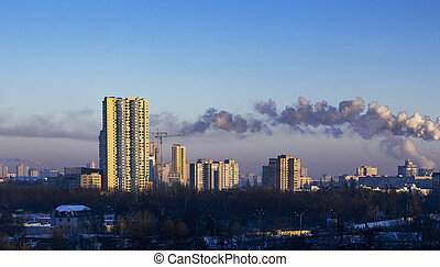 Morning cityscape, with blue sky, day, outdoor