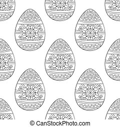 Seamless vector pattern with doodle Easter eggs.