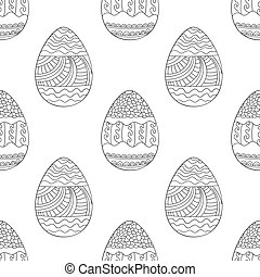 Seamless vector pattern with doodle Easter eggs. Easter...