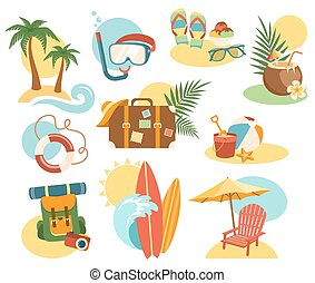 Summer Vacation Labels Icons Signs Collection Isolated on White