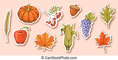 Autumn Seasonal Icons Signs Collection Isolated on Beige...