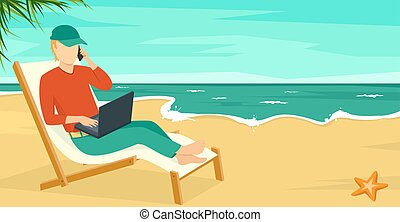 Best Work Concept Beach Summer Sea with Man and Laptop