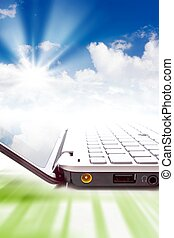 Cloud computing - Concept - cloud computing, notebook and...